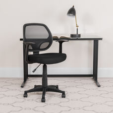 Mid-Back Black Mesh Swivel Ergonomic Task Office Chair with T-Arms - Desk Chair, BIFMA Certified
