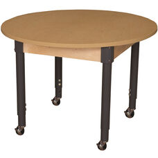 Mobile Round High Pressure Laminate Table with Adjustable Steel Legs - 48