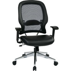 Space Professional Air Grid Back Office Chair with Bonded Leather Seat