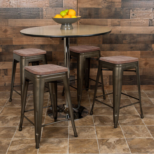 "Our 24"" High Metal Counter-Height, Indoor Bar Stool with Wood Seat in Gun Metal Gray - Stackable Set of 4 is on sale now."