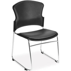 Multi-Use Stack Chair with Anti-Microbial and Anti-Bacterial Vinyl Seat and Back - Charcoal