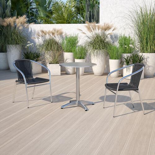 Aluminum and Rattan Commercial Indoor-Outdoor Restaurant Stack Chair