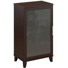 Somerset Frosted Glass Door Audio Cabinet - Mocha Cherry