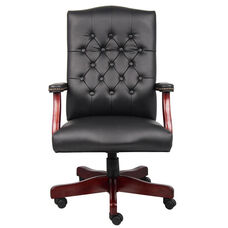 Classic Button Tufted Caressoft™ Chair with Brass Nail Head Trim - Black