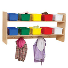 Wall Mountable Storage Shelf Unit with 5 Double Hooks and Ten Multi-Colored Trays - Assembled - 48