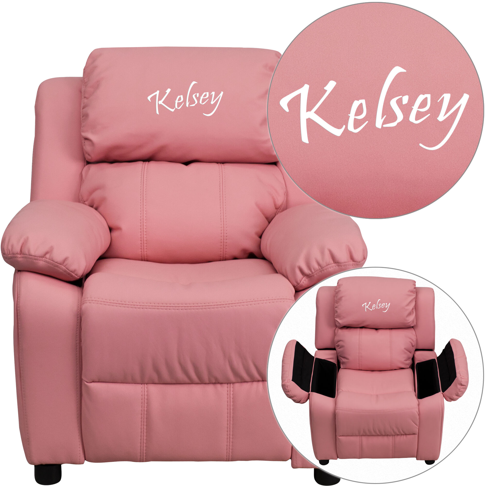 Sensational Personalized Deluxe Padded Pink Vinyl Kids Recliner With Storage Arms Pabps2019 Chair Design Images Pabps2019Com