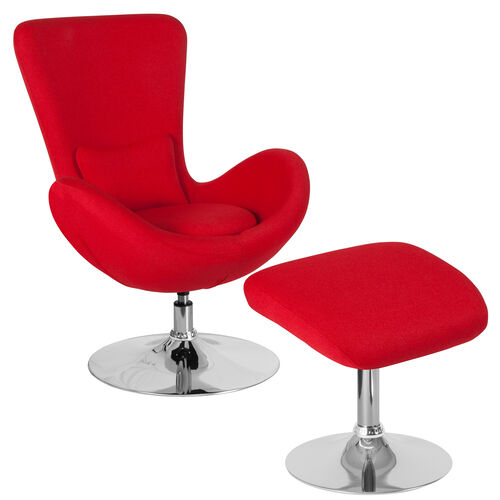 Our Egg Series Red Fabric Side Reception Chair with Ottoman is on sale now.