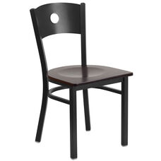 Black Circle Back Metal Restaurant Chair with Walnut Wood Seat