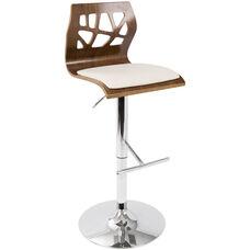 Folia Mid-Century Modern Height Adjustable Swivel Barstool with Walnut Accents - Cream