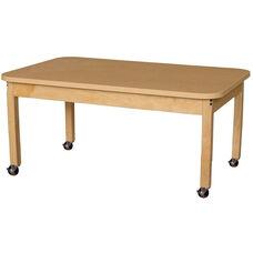 Mobile Rectangular High Pressure Laminate Table with Hardwood Legs - 48