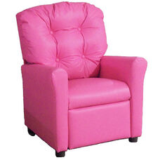 Kids Recliner with Button Tufted Back - Pink Vinyl
