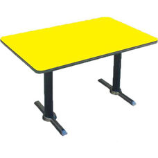 Laminate Top Rectangular Cafe Table with Cast Iron T-Base - 30''D x 60''W