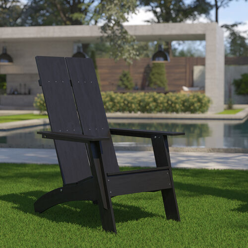 Sawyer Modern All-Weather Poly Resin Wood Adirondack Chair in Black