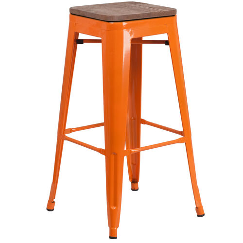"""Our 30"""" High Backless Orange Metal Barstool with Square Wood Seat is on sale now."""