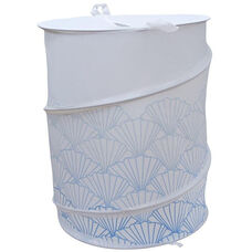 Polyester Collapsible Hamper with Shell Design - Blue