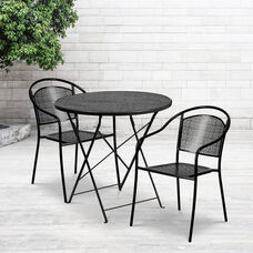 "Commercial Grade 30"" Round Black Indoor-Outdoor Steel Folding Patio Table Set with 2 Round Back Chairs"