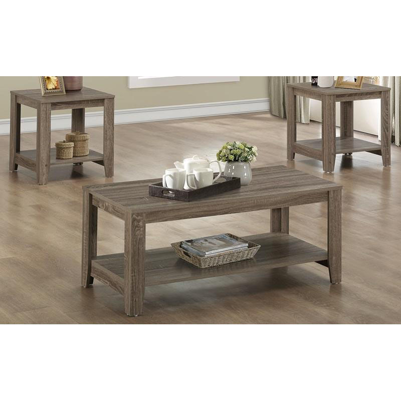 ... Our Reclaimed Design 3 Piece Occasional Table Set With Shelf   Dark  Taupe Is On Sale