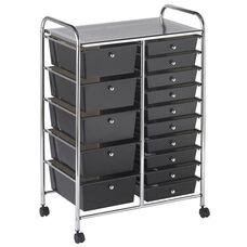 15 Drawer Mobile Organizer with Chrome-Plated Top Shelf and Smoke Colored Pullout Drawers