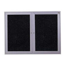2-Door Satin Aluminum Frame Enclosed Recycled Rubber Tackboard - Tan Speckled - 36