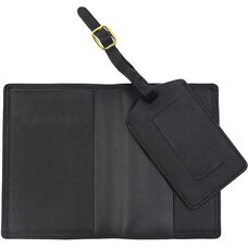 Leather Luxury Travel Gift Set: RFID Blocking Passport Jacket with Matching Luggage Tag - Black
