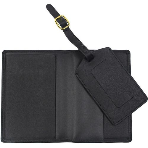 Our Leather Luxury Travel Gift Set: RFID Blocking Passport Jacket with Matching Luggage Tag - Black is on sale now.