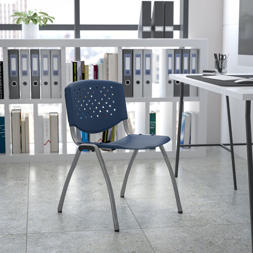 HERCULES Series 880 lb. Capacity Navy Plastic Stack Chair with Titanium Gray Powder Coated Frame