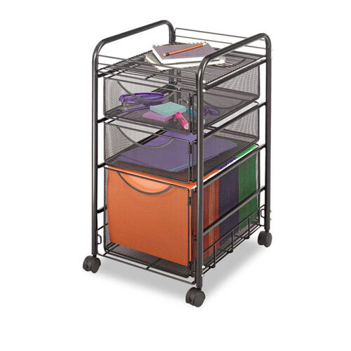 Our Safco® Onyx Mesh Mobile File With Two Supply Drawers - 15-1/4w x 17d x 27h - Black is on sale now.