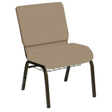 Embroidered HERCULES Series 21''W Church Chair in E-Z Wallaby Neutral Vinyl with Book Rack - Gold Vein Frame