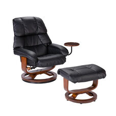 Bonded Leather Swivel Recliner with Movable Side Table and Ottoman - Black