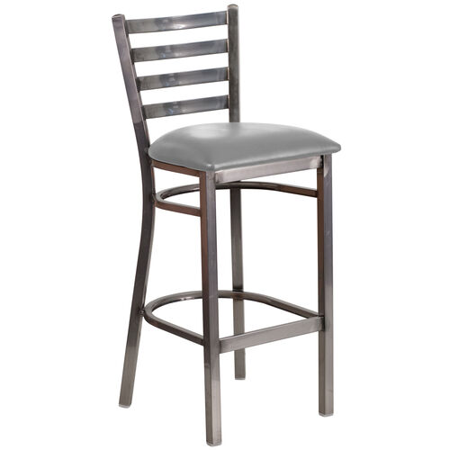 Our Clear Coated Ladder Back Metal Restaurant Barstool with Custom Upholstered Seat is on sale now.