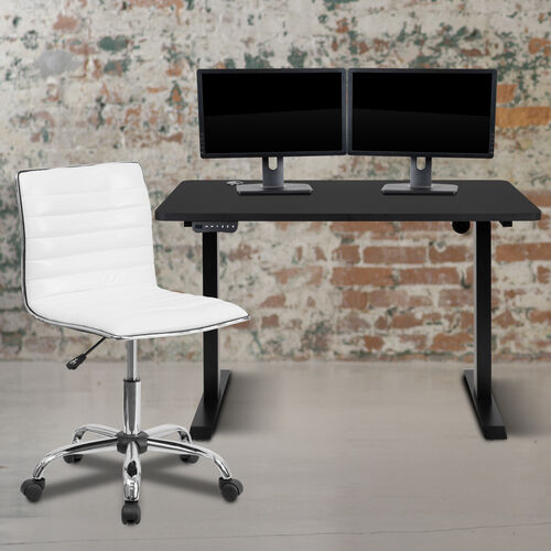 """48"""" Wide Black Electric Height Adjustable Standing Desk with Designer Armless White Ribbed Swivel Task Office Chair"""