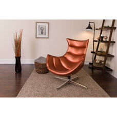 Copper Leather Swivel Cocoon Chair