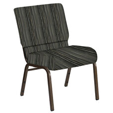 Embroidered 21''W Church Chair in Canyon Pewter Fabric - Gold Vein Frame