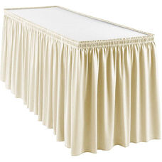 Wyndham 17 Foot Shirred Pleat Table Skirt with SnugTight™ Clips - Bone