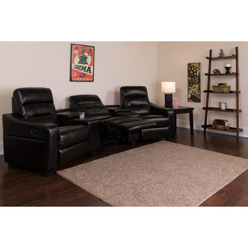 Theatre Seats | LeatherSoft Reclining Home Theatre Sectional Sofa