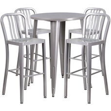"""Commercial Grade 30"""" Round Silver Metal Indoor-Outdoor Bar Table Set with 4 Vertical Slat Back Stools"""