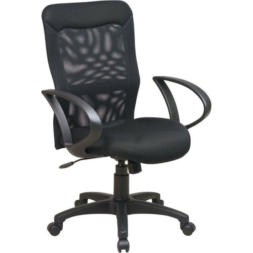 Work Smart Mesh Screen Back Chair with Mesh Seat and Loop Arms - Black