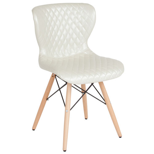 Our Riverside Contemporary Upholstered Chair with Wooden Legs in Ivory Vinyl is on sale now.