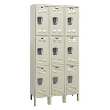 Galvanized Three Wide Triple-Tier Stock Locker Unassembled - Parchment Finish - 36