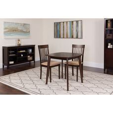 Windsor 3 Piece Espresso Wood Dining Table Set with Rail Back Wood Dining Chairs - Padded Seats