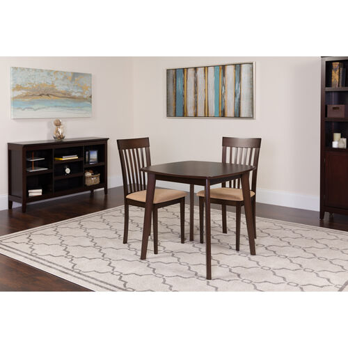 Our Windsor 3 Piece Espresso Wood Dining Table Set with Rail Back Wood Dining Chairs - Padded Seats is on sale now.