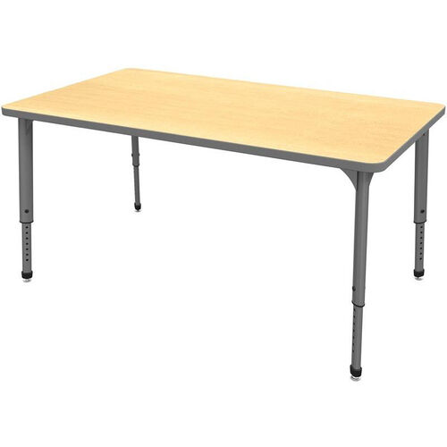 Our Apex Series Height Adjustable Rectangular Activity Table - Fusion Maple Top with Gray Edge and Legs - 72