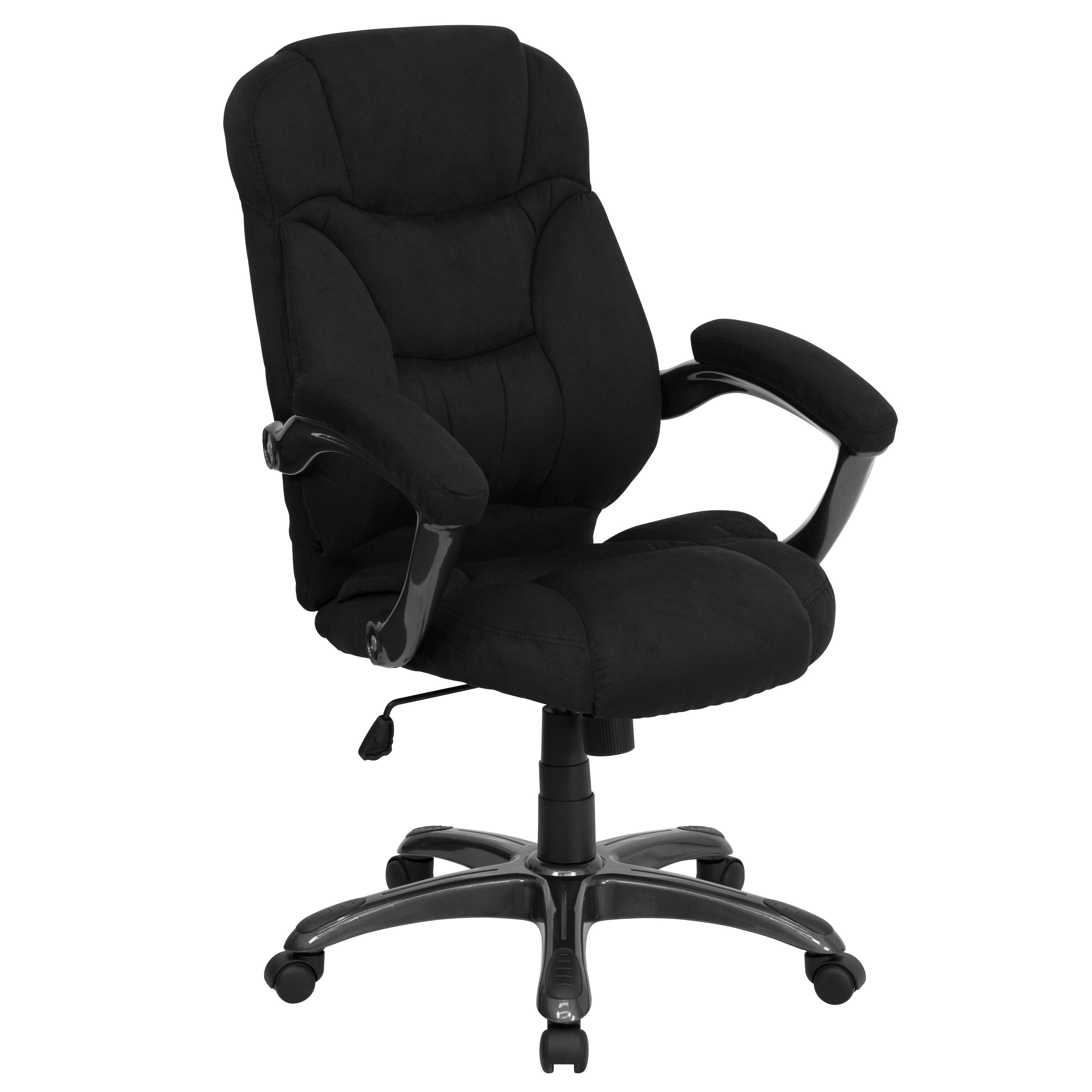 ... Our High Back Black Microfiber Contemporary Executive Swivel Chair With  Arms Is On Sale Now.