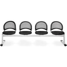 Moon 4-Beam Seating with 3 Vinyl Seats - Black