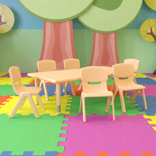 """24""""W x 48""""L Rectangular Natural Plastic Height Adjustable Activity Table Set with 6 Chairs"""
