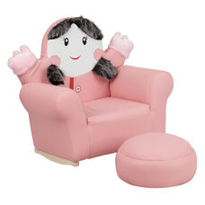 Kids Pink Little Girl Rocker Chair and Footrest