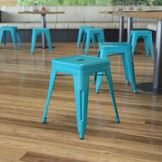 """18"""" Table Height Stool, Stackable Backless Metal Indoor Dining Stool, Commercial Grade Restaurant Stool in Teal - Set of 4"""