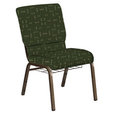 18.5''W Church Chair in Eclipse Fern Fabric with Book Rack - Gold Vein Frame