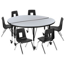 """Mobile 47.5"""" Circle Wave Collaborative Laminate Activity Table Set with 14"""" Student Stack Chairs, Grey/Black"""