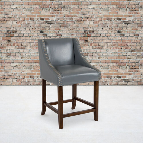 """Carmel Series 24"""" High Transitional Walnut Counter Height Stool with Accent Nail Trim in Light Gray LeatherSoft"""